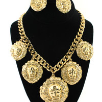 Gold 5 Lion Head Charms Statement Necklace Set