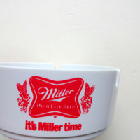 Vintage Acrylic Miller Beer Ashtray 1980s