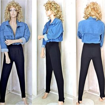 Denim jumpsuit size S /  80s denim jumpsuit womens / one piece denim pantsuit