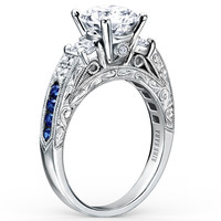 "Kirk Kara ""Charlotte"" Three Stone Blue Sapphire Diamond Engagement Ring"