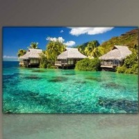 """Wonderful holiday season! Decorative painting on canvas xxl large framed pictures (Exotic_Bungalows-2-70x110cm/27,6""""x43,3""""Inch) HD ready with large wooden frame. Execution of fine art print on canvas as a wall picture with frame. Cheaper than oil painting"""