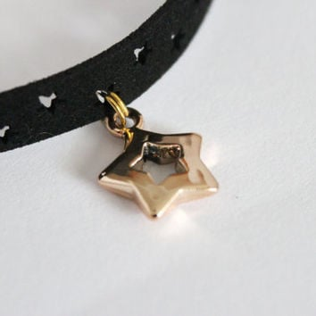 Gold star black leather choker necklace, gold star choker necklace, black leather choker necklace, choker necklace, choker gift