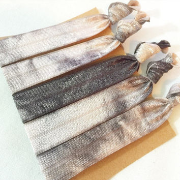 Set of 5 Pack of Tie Dye Elastic Hair Ties Hippie Crease Free Neutral Blush and Black Charcoal Grey