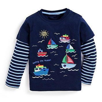 Children T-shirt Boys Clothes Baby Boys Tops Tees with Animal Appliques Kids Long Sleeve Sweatshirt Boys T shirts