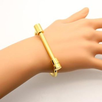 Fashion Shackle Screw Cuff Bracelet Gold Color Stainless Steel Bracelets & Bangles For Women Love Bracelet