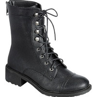 (and) Perforated Laced Military Combat Black Ankle Boot
