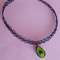Avocado Necklace - Avocado Tattoo Choker - Miniature Food jewelry