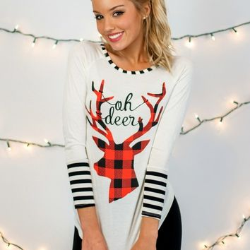 Oh Deer Plaid Reindeer Top