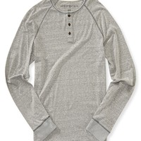 Aeropostale  Mens Long Sleeve Marled Henley Shirt