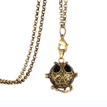 Antique Bronze Owl Locket Pendant Glow in the Dark Essential Oil Necklace Fragrance Aromatherapy Diffuser Jewelry for Women