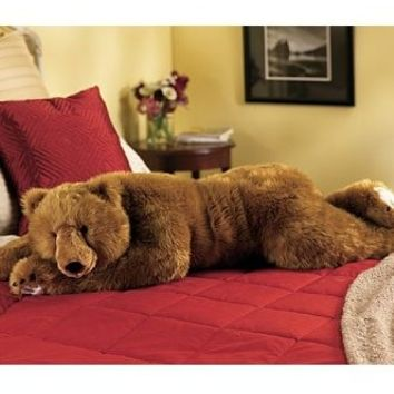 Super-Soft Big Bear Hug Body Pillow with Realistic Accents, in Brown Bear:Amazon:Home & Kitchen