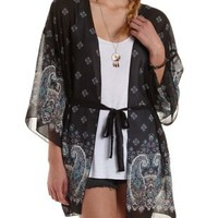 Black Combo Paisley Border Print Belted Kimono by Charlotte Russe