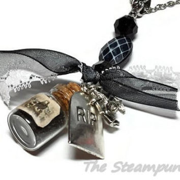 Voodoo Black Magic Graveyard Dirt Bottle Necklace