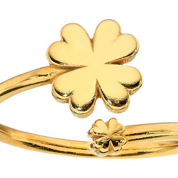 Alex and Ani Four Leaf Clover Ring Wrap - Precious Metal 14kt Gold Plate - Zappos.com Free Shipping BOTH Ways