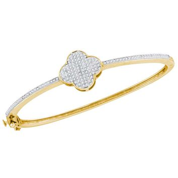 10kt Yellow Gold Womens Round Diamond Quatrefoil Cluster Bangle Bracelet 3/8 Cttw
