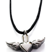 Winged Heart Pendant Necklace Urn + Kit