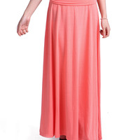 Coral Jersey Knit Maxi Skirt