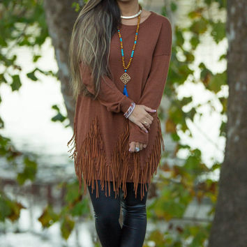 Get Your Fringe On Dress-Camel