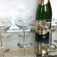 8 Vintage Champagne Glasses - Cocktail Coupe / Coupes