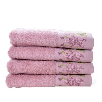 Minteks Ilmira Collection Turkish Decorative Hand Towel Sets   Embroidered Towel with Lace Trim