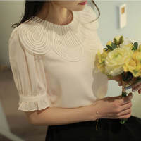 Sweet lace short-sleeved chiffon shirt