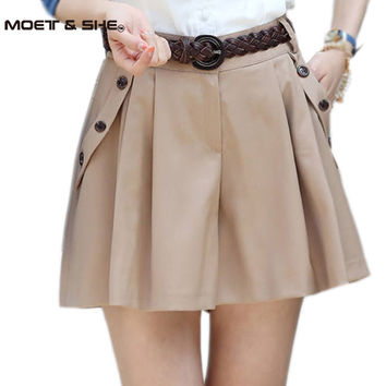 Women 2016 spring/summer new fashion loose Culottes shorts skirts female casual hot Bottom skorts with belt plus size B52905