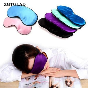 ZGTGLAD 1Pc Hot Sale Pure Silk Sleep Eye Mask Padded Shade Cover Travel Relax Aid Blindfold Party Gifts Party Favors