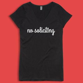 No Soliciting Sign Women'S V Neck