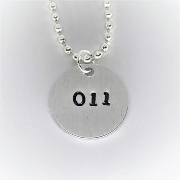 Stranger Things Eleven Hand Stamped Aluminum Necklace 011 Handmade