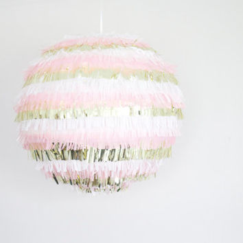 Pink Fringe Paper Lantern - Pink Party Decor // Pink and Gold Lantern // Tissue Lantern Decor //  Lantern Chandelier // Pink Pinata Lantern