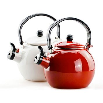 Whistle pot Thickening of the enamel whistling kettle electromagnetic furnace enamel ring kettle tea-urn red white and red color