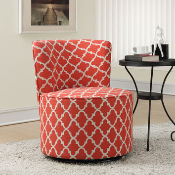 "Accent Chair - Swivel Base - Coral "" Lantern "" Fabric"