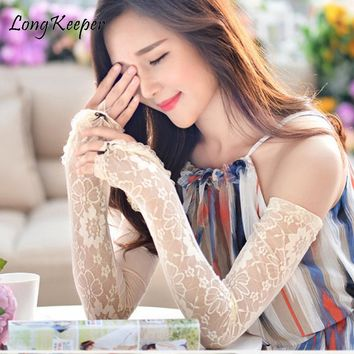 Long Keeper Lace/Solid Colored Women's Long Sleeves Fingerless Gloves 6ocm Arm Sunscreen Gloves Ice Silk Lace Ladies Elbow Luva