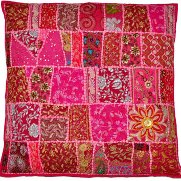 """24"""" Decorative Vintage Throw pillow, Embroidered Accent Outdoor sofa Pillow, Tribal throw pillow, Patchwork Handmade Indian cottage Pillow"""