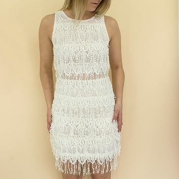 Layla Fringe Dress - white