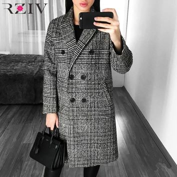 RZIV winter coat women jacket and casual lattice double-breasted long plaid coat