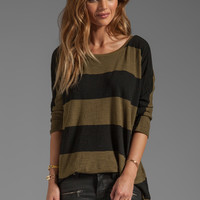 Michael Stars 3/4 Sleeve Wide Neck Hi-Low Tee in Army Green Stripe from REVOLVEclothing.com