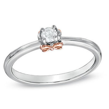 1/6 CT. Diamond Solitaire Bow Promise Ring in Sterling Silver and 14K Rose Gold - View All Rings - Zales