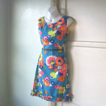 Summer-Spring Vintage Turquoise Cotton Dress; Big Yellow/Orange/Pink Flowers - Groovy Flower Print 1960s Shift Dress; Ruffle Hem; Medium-Lg