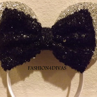 Minnie Mouse Ears Headband Silver Sparkle Black Bow Mickey Mouse Ears, Disneyland,Holiday Mouse Ears FAST SHIPPING