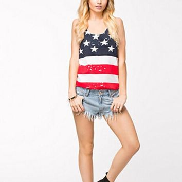 womens american flag printed tank top sleeveless t shirts gift 96  number 1