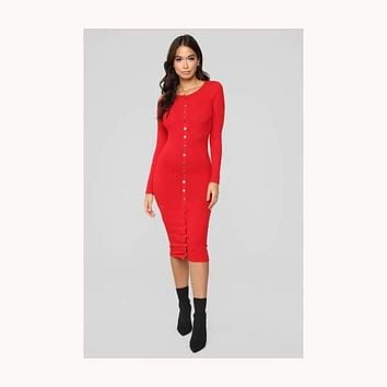 Sweet On You Midi Dress-Red