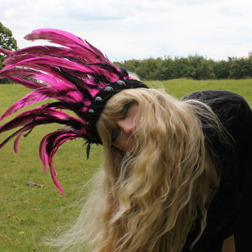 Pink and Black Leather and Feather Headdress by rougepony on Etsy