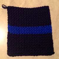 Thin Blue Line Police Officer Policeman Police Department Knitted Pot Holder Trivet