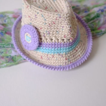 Baby Girl Fedora Hat Toddler Fedora Crochet Girls Fedora Hat Baby Girl Hat Cotton Summer Hat Baby Girl Sun Hat Newborn Photo Props Baby Girl