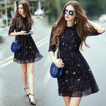 Summer Dress 2017 Women Casual Star Moon Print Dark Blue Dress Half Sleeve Dress Summer Style alibaba express Free Shipping