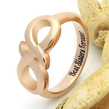 "Infinity Ring for Sister Promise Ring Infinity Symbol Sister Ring ""Best Sister Forever"" Engraved on Inside Best Gift for Sister"