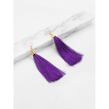 Long Tassel Earrings Purple