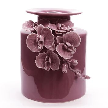 "9"" Botanic Beauty Wineberry Purple Decorative Orchid Porcelain Flower Vase"