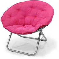 Kids,Teens, Small Space Plush Oversized Saucer Moon Bedroom Lounge Folding Chair